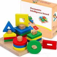 Wooden Shape Sorter Educational Toys, Bigger Version Toddler Geometric Building