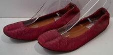 LANVIN Red Leather Textured Python Flat Slip On Ballerina Pump Shoes EU39 UK6