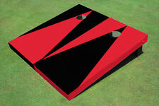 Red And Black Alternating Triangle No Stripe Custom Cornhole Board