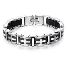 Bracelet gourmette maillon noir croix acier inoxydable silicone biker homme mode