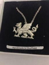 "Welsh Dragon PP-G51 Emblem Silver Platinum Plated Necklace 18"""