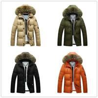 Men Fur Hooded Coat Outwear Puffer Parka Duck Down Jacket Thick Winter Ski Warm