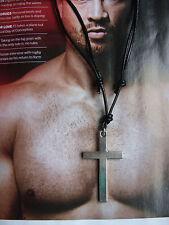 Hombres Cordón Cuero Negro Cadena Chapa Identificativa,