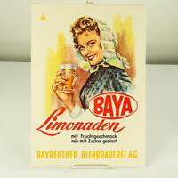BAYA Limonaden & Kola Bayreuther Bierbrauerei Werbung Reklame Cola alt 50er