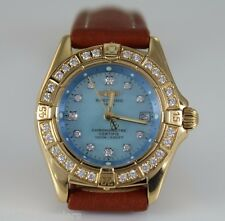 Breitling K72345 Lady Original Diamond 18K Yellow Gold Blue Pearl Watch