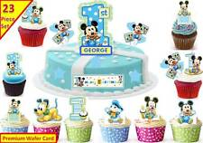 Boys Mickey Mouse 1st Birthday Cup Cake Scene Toppers Wafer Edible STAND UP