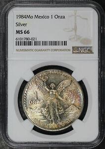 1984-Mo Mexico Silver Libertad 1 Onza NGC MS-66 Toned