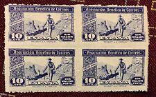 "Spain 1944 ""Ascoc. Benefica de Correos"" Civil War 10c. Block Of 4 MNHOG XF X3/19"