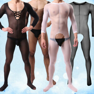 Men Lingerie Full Body Body-Stocking Ultra-thin Pantyhose Sock Thigh Bodysuit