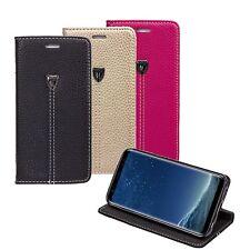 LUXUS Echt PU Leder Handy Flip Case Schutz Hülle Cover Tasche Silikon Bumper
