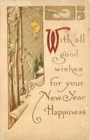 Arts Crafts New Year Happiness Saying Artist impression Postcard 20-5068