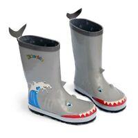 Kidorable Little Boys Grey Shark Wave Print Rubber Rain Boots 5-10 Toddler
