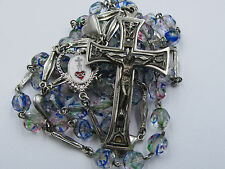 † ENAMELED VINTAGE SILVER RAINBOW CONFETTI GLASS ROSARY RELIC CROSS †