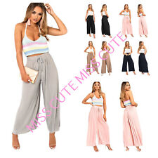WOMEN'S LADIES PLEATED PALAZZO TROUSERS FLARED LONG LEG TROUSERS CRINKLE PANTS