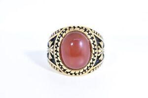 Vintage Gold Stainless Steel Genuine Carnelian Size 11 Men's Cross Ring