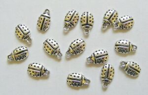 15 Ladybird Charms, Ladybug Charm Pendants, Antique Silver, 12mm