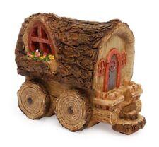 Fairy Wagon House Miniature Dollhouse Garden - Wood Look Figurine (MG173)