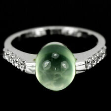 NATURAL AAA GREEN PREHNITE CABOCHON & WHITE CZ STERLING 925 SILVER RING SIZE 7