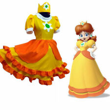 Super Mario Princess Daisy Costume Vigezzo Yellow Adult Cosplay Dress Hat MM.825