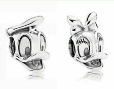 Donald Duck & Daisy Duck Disney Silver Plated Charm fits European Charm Bracelet