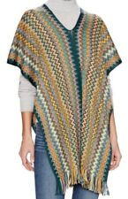 Missoni Cape Vest Shawl Scarf Zig Zag Green Multi-Color Wool Blend One Size NWT