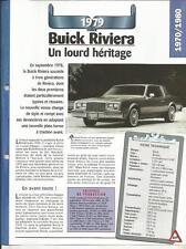 FICHE TECHNIQUE AUTOMOBILE - BUICK RIVIERA 1979