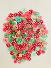 100 Lovely Pink Green Spring mix Wooden Acrylic Sewing Scrapbook Craft Buttons