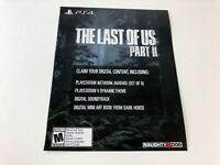 Unused The Last of Us Part II 2 DLC Insert PS4 / Theme Avatar Soundtrack NO GAME