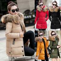 Women Winter Warm Fur Collar Hooded Long Coat Jacket Slim Parka Outwear Tops