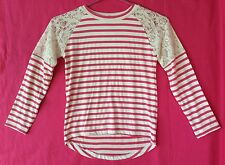 Girls Size 6 Lace Shoulder Long Sleeve Soft Stretchy Pink & White Striped Shirt