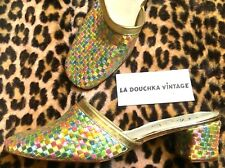 French 1950s Women Glam Mules Slippers~Multicolour Pastel Silk~Gold Trims~New~6