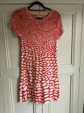 ISSA LONDON Ladies Red and Cream Fine knit Dress -Size Small ( UK 10) VGC