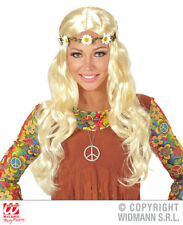 Blonde Curly Hippie Wig With Daisy Headband 1970S Fancy Dress Costume Accessory