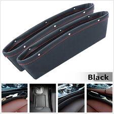 Black PU Leather Catch Catcher Storage Organizer Box Caddy Car Seat Slit Pocket