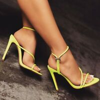 Womens Open Toe High Stiletto Heel Shoes Cut Out Slingbacks Slip On Sandals Chic