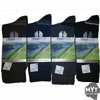 Mens Fresh Feel Socks 4 Pack Wool Cotton Multicoloured comfort Walking UK 6-11