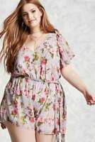 Forever 21 Plus Size Floral Self Tie Romper 0X2X