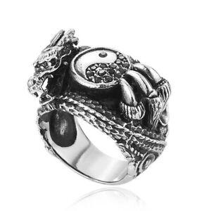 Tribal Dragon Claw Tai Chi Ying Yang Ring Stainless Steel Men's Biker Punk Rings
