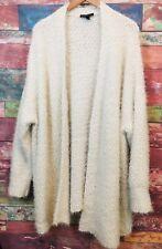 Lane Bryant Women's Cream Long Sleeve Open Front Fuzzy Knit Cardigan Sweater 26/