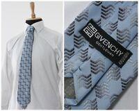Mens GIVENCHY Silk Tie Cravatte Necktie Striped Printed Blue