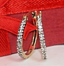 VINTAGE 10K  YELLOW  GOLD GENUINE NATURAL  DIAMOND HOOP EARRINGS MADE  MEXICO