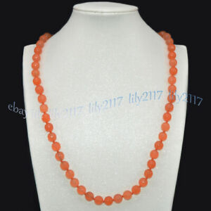 Faceted 10mm Orange Topaz Natural Gemstone Round Beads Jewelry Necklace 22-50''