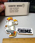 1980s McGruff the crime dog, Take a bite out of crime, set of 2 Wood mangets NEW