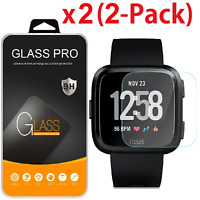 2-Pack Premium Tempered Glass Screen Protector Guard Saver For Fitbit Versa