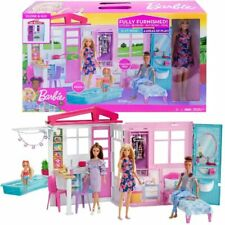 Barbie Doll and Dollhouse Portable 1-Story Playset with Pool and Accessories