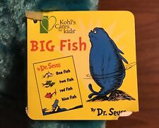 Vintage Limited Edition Big Blue Fish Stuffed Toy Dr Seuss One Fish Two Fish Red