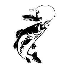 Vinyl Wall Decal Fishing Fisherman Hobby Fish Funny Boat Car Stickers COP