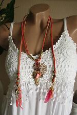 Damen Sommer Hippie Halskette Straumfänger Kette Federn Anhänger NICKELFREI Boho