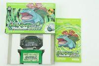 Pokemon Leaf Green adapter GBA Nintendo Gameboy Advance Box From Japan