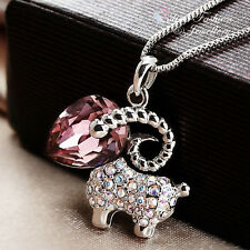 18K White Gold Filled Made With Swarovski Element Cute Sheep Amethyst Necklace